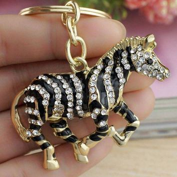 ICIKL6D Dalaful 2017 Black Zebra Horse Crystal Rhinestone Metal Bag Pendant Key chains Holder women Keyrings Keychains For Car K180