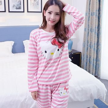 Hello Kitty Printed Cartoon Animal Spring Women Sleep Lounge Pant+Tops 2 Pieces Pijamas Mujer Women Pyjama Set Lovers Sleep Wear