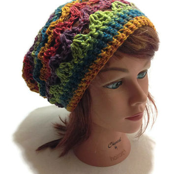 Crochet Ombre Pale Rainbow Open Stitch Slouchy Beanie Hat
