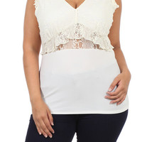V-neck Lace Ruffled Top - White - Plus Size - 1x - 2x - 3x