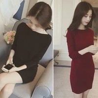 Long-Sleeve Sheath Knit Dress