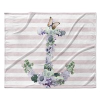 "Nika Martinez ""Floral Anchor"" Pink Stripes Fleece Throw Blanket"