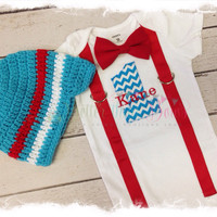 BOYS Personalized FIRST BIRTHDAY 2 Pc Outfit-Boys Birthday Bodysuit with Turquoise Chevron 1, Red Suspenders and Bow Tie-Cake Smash