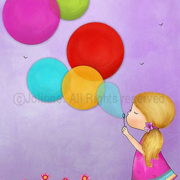 Children's wall art print girl blowing bubbles kids room decor poster from 7x9 up to 12x15 inches