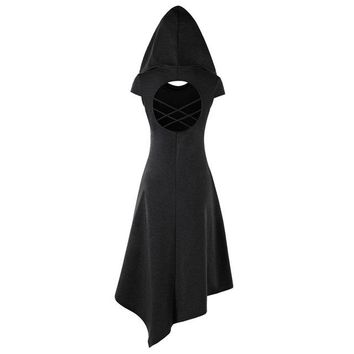 Gothic Style Asymmetrical Hooded Cut Out Women Dress Summer Hooded Short Sleeves Dresses Vestido De Festa 4 Colors