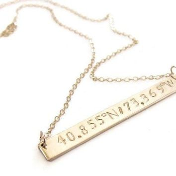 Personalized Coordinate Bar Necklace in Gold fill, Rose Gold and Sterling Silver