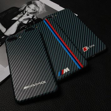 New Motorsport RACING SPORT RS carbon fiber cover case for iphone 6 S plus 7  8 plus X XS MAX XR AMG black Luxury car phone caes