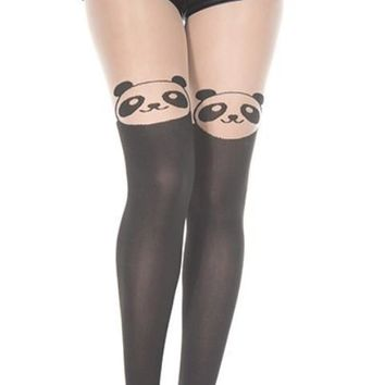 White Cute Panda Face Pantyhose