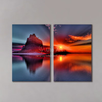Guarantee 2 Pcs Canvas Art Landscape Mountain Painting Wall Decor Picture Red Sun Vintage Modular Pictures for Living Room Cheap