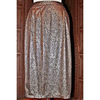 Vintage 1980s Gold Metallic + Pencil Skirt