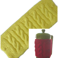 """French Press Pot Cozy, Lemon Yellow Hand Knitted Cable Pattern Cafetiere Cozy, Fits Beaker 12"""" (30.5cm) in Diameter, Free US Shipping"""