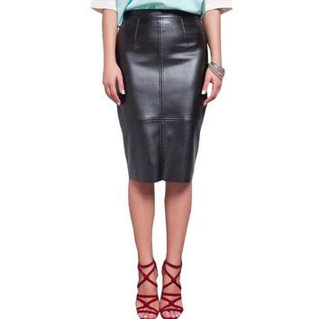 LMF78W Women PU Faux Leather Midi Pencil Bodycon Skirts 2016 New Plus Size Ladies Sexy Tube Skirt Saia Femininas