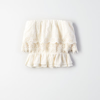 AE Smocked Overlay Tube Top, Cream