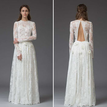 Romantic Lace Flowers Beach Wedding Dresses Keyhole Back Long Sleeve Boho Dress Bohemian Bridal