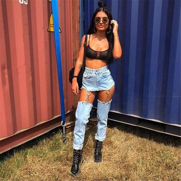 Vintage Chain Jeans Woman Patchwork Ripped High Waist Denim Jeans Feminino Straight Pants Zipper Up Boyfriend Jeans Women
