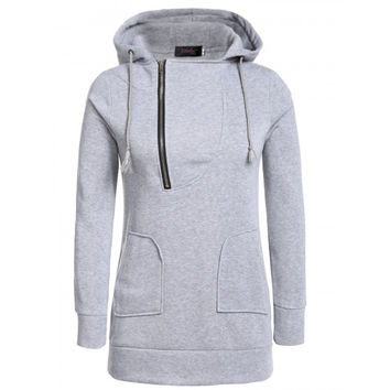 Women Long Sleeve Half-Zip Pullover Solid Hooded Hoodie Sweatshirt