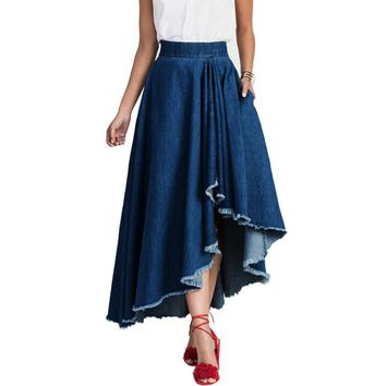 2017 Fashion Womens Vintage Elastic High Waist Cowboy Denim Blue Jean Asymmetric Hem A-Line Summer Casual Party Midi Skirt Jupe