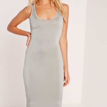 Missguided - Slinky Bodycon Midi Dress Grey