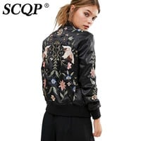 SCQP Balck Floral Bird Embroidered Bomber Jacket Ladies Fashion 2016 Souvenir Jacket Autumn Casual Streetwear Women Basic Coats