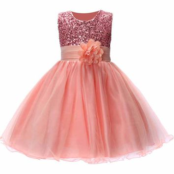 Cute Flower Girls Princess Sleeveless Dress with Sequins Mesh (11 Color Options)