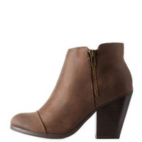 Taupe Cap-Toe Zipper-Trim Ankle Booties by Charlotte Russe