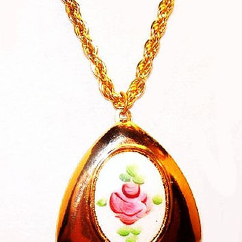 "Rose Guilloche Locket Necklace White Pink Enamel Gold Twisted Chain 24"" Vintage"