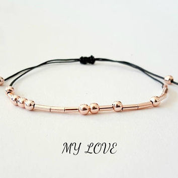 Morse code bracelet, my love bracelet, rose gold, girlfriend gift, custom morse code bracelet, string bracelet