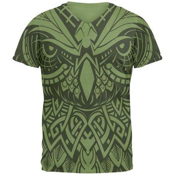 ONETOW Trippy Tribal Owl Mens V-Neck T Shirt