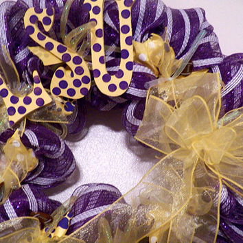 LSU Tigers Deco Mesh Wreath, Decoration, Door Hanger Ready to Ship
