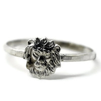 Sterling Silver Lion Ring, Handmade Sterling Silver Ring, Animal Ring