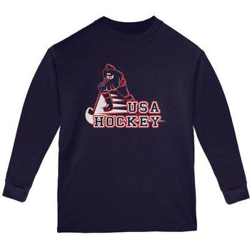 ESBGQ9 Fast Hockey Player Country USA Youth Long Sleeve T Shirt