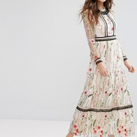 Miss Selfridge Premium Embroidered Lace Detail Maxi Dress at asos.com