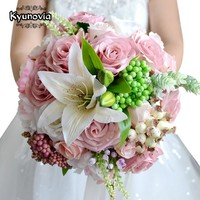 Kyunovia Beautiful Wedding Bouquet Assorted Roses Lily bouquet wedding accessories Artifical Wedding flowers Bride Bouquet FE15