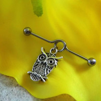 Owl Cartilage on Industrial Barbell Body Jewelry
