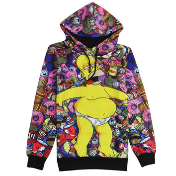 Duff'd Up All Over Print The Simpsons Collage Duff Beer & Donuts Drunk Homer Simpson Hoodie