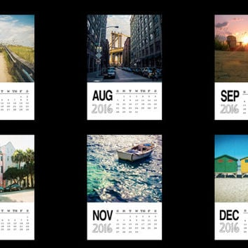 Photo calendar 2016, 5x7 desk calendar, photography calendar, travel photography, office calendar, gift under 25, sunset, ocean, beach, nyc