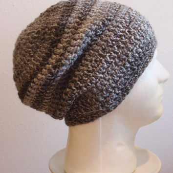 Crochet Slouch Hat Beanie, Mens Beanie, Womens Hat, Black and Gray Striped, Mens Slouch Beanie, Mens Fashion, Fall Apparel, Summer Beanie