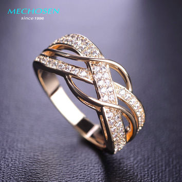 MECHOSEN Kawaii Cubic Zirconia Rings For Women Men Jewelry Bridal Wedding Rings Anel Gold-color Copper Ring Anillos Mujer Vaz