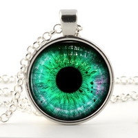 Dragons Eye Necklace - Silver Pendant - Prismatic Green Eye Art with Chain and Gift Bag - Dragons Eye Jewelry