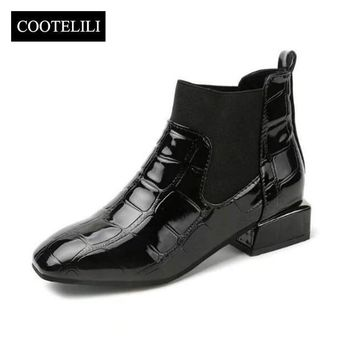 COOTELILI  Luxury Women Boots Winter Shoes Heels Ankle Boots Motorcyle Punk Shoes Woman Warm Black Plus Size Square Toe Shoes