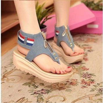 summer women open toe platform sandals wedge sandals women sandals sandales Wedges Shoes Slippers
