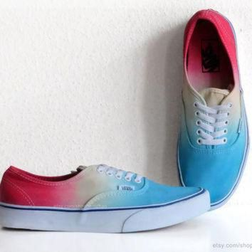 CREYONS Turquoise, sky blue, yellow, red ombre dip dye Vans Authentic skate shoes, upcycled vi