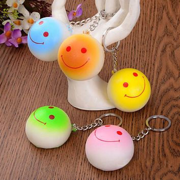 Cell Phone Straps Bag Parts & Accessories Kawaii Bun Squishy Buns Bread Charms Key Bag Key Chains 1 PCS Candy Color 4cm
