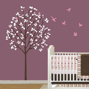 Size 100x175cm Large Forest Tree Birds Vinyl Wall Decals Girl Nursery Tree  Art Stickers Kids Rooms Decoration KW-101