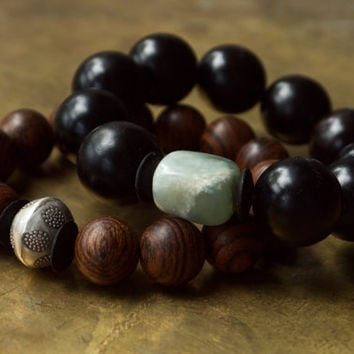 Mens yoga bracelet Buddhist bracelet Large bead bracelet Unisex mala bracelet Meditation jewelry Asian style Black ebony wood and stone Boho