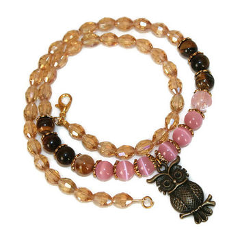 Valentines Day Owl Charm Necklace Pink Cat Eye Tiger Eye Beads Healing Jewelry Elegant Jewelry Spiritual Gifts Beaded Necklace Yoga Gift