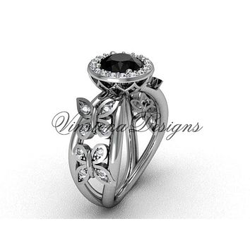 Platinum butterfly engagement ring, Black Diamond VF301013