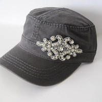 Charcoal Grey Cadet  Military Army Hat with Rhinestone Accent Womens Hats Accessories Sun Hats