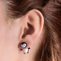 Claire's Women's Penguin Front And Back Stud Earrings In Black/White