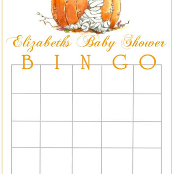 Mummy Fall Themed Baby Shower Bingo Cards